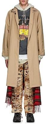 Vetements Men's Reversible Twill & Flannel Trench Coat - Beige, Tan