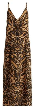 Raey V Neck Silk Tiger Print Midi Slip Dress - Womens - Brown Multi