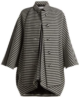 Balenciaga Houndstooth Wool Blend Coat - Womens - Black White