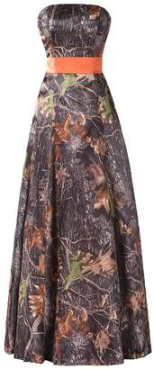 Anlin Long Strapless Prom Party Dress Camo Evening Party Bridsmaid Gown
