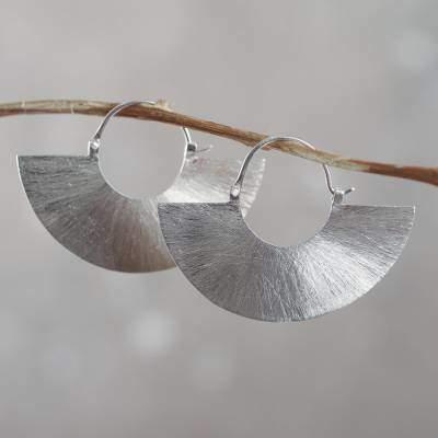 Peru Modern Hoop Earrings Crafted of Brushed Sterling Silver, 'Satin Half Moon'