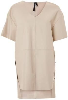 Topshop Leather V-Neck Dress