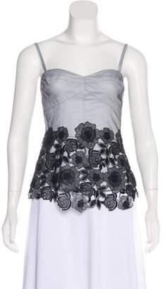 Lela Rose Sleeveless Embroidered Top