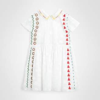 ad89c5e80f41 Burberry Childrens Peter Pan Collar Embroidered Cotton Dress