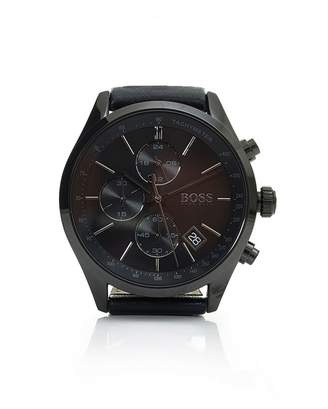HUGO BOSS Watches Grand Prix Black Black Leather Watch