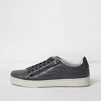 River Island Mens Grey croc embossed lace-up plimsolls