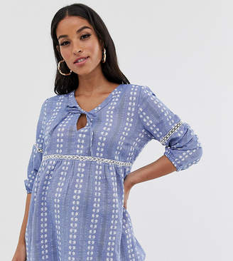Mama Licious Mama.Licious Mamalicious maternity waisted broderie smock top