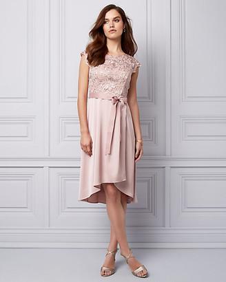 Le Château Embroidered Lace & Crêpe Cocktail Dress