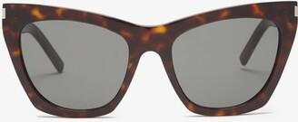 Saint Laurent Kate Cat Eye Acetate Sunglasses - Womens - Tortoiseshell
