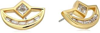 Nicole Miller New York Crescent Baguette Gold Stud Earrings