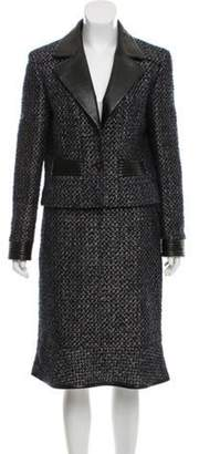 Chanel Leather-Trimmed Tweed Skirt Suit multicolor Leather-Trimmed Tweed Skirt Suit