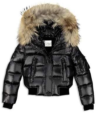 SAM. Girls' Skyler Fur-Trimmed Down Bomber Jacket - Big Kid