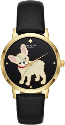 Kate Spade Grand Metro Bulldog Leather Strap Watch, 38mm