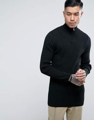 Asos Longline Half Zip Ribbed Sweater In Black