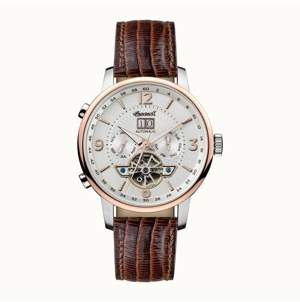 Ingersoll Grafton Automatic with Stainless Steel Case, Silver Dial and Brown Lizard Embossed Leather Strap