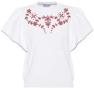 RED Valentino Embroidered jersey top