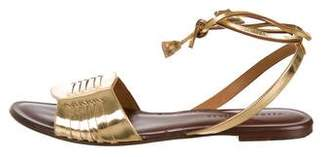 Veronica Beard Metallic Wrap-Around Sandals