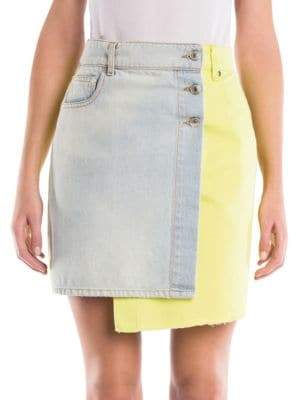 MSGM Two-Tone Denim Mini Skirt