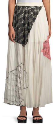 Derek Lam 10 Crosby Pleated Midi Skirt with Lace Inserts