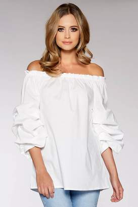 Quiz White Ruched Sleeve Bardot Top