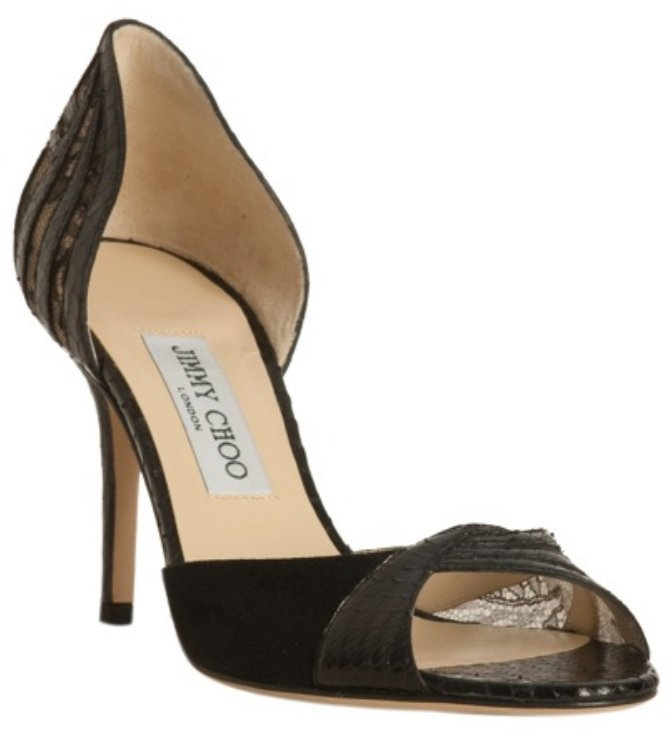 Jimmy Choo black suede and snakeskin 'Nitric' d'orsay pumps