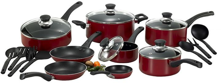 T-Fal Inspirations 20-pc. Red Nonstick Aluminum Cookware Set