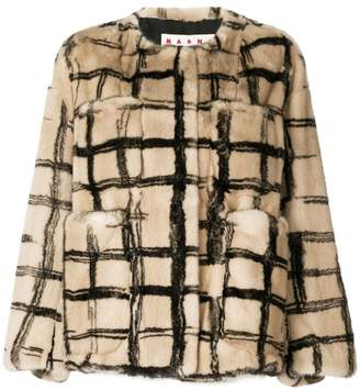 Marni checked print coat