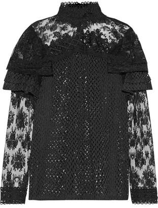 Anna Sui - Ruffled Embroidered Lace Blouse - Black
