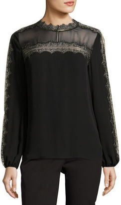Elie Tahari Morgana Lace-Trim Yoked Silk Blouse $328 thestylecure.com