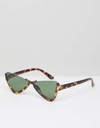 Cat Eye Asos Design ASOS DESIGN half frame plastic butterfly diamond sunglasses