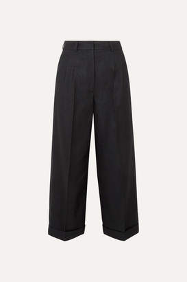 Akris Fira Cropped Mulberry Silk And Wool-blend Twill Wide-leg Pants - Black
