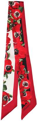 Dolce & Gabbana Small Anemone Print Silk Twill Scarf
