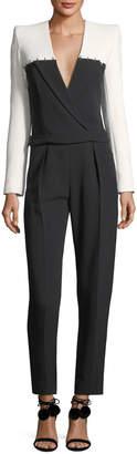 Thierry Mugler Colorblock Staple-Trim Tuxedo Jumpsuit