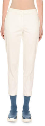 Agnona Cotton Crepe Slim Tapered-Leg Trousers
