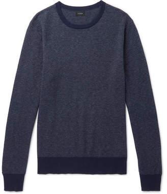 J.Crew Mélange Cotton-Piqué And Cashmere-Blend Sweater