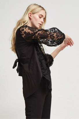 French Connenction Chania Lace Puff Sleeve Shirt
