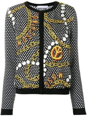 Moschino Peace chain print cardigan