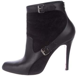 Christian Louboutin Leather Semi Pointed-Toe Ankle Boots