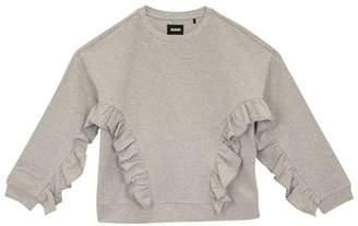 Hudson Oversized Ruffle-Trim Sweatshirt, Size S-XL