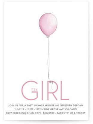 Girl Balloon Baby Shower Invitations