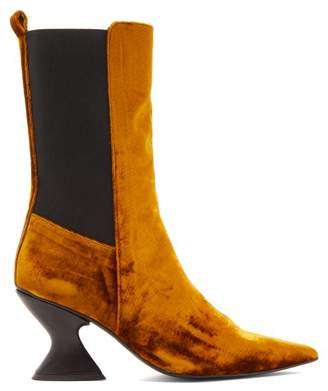 Marques Almeida Marques'almeida - Point Toe Crushed Velvet Boots - Womens - Gold