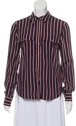 Veronica Beard Silk Striped Button-Up