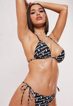 0709a1e15f Missguided Playboy X Black Repeat Logo Print Triangle Bikini Top, Black