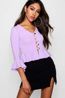 boohoo Button Front Detail Blouse