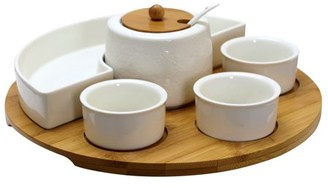 Elama Signature 8 Piece Appetizer Serving Set with 4 Serving Dishes, Center Condiment Server, Spoon, and Bamboo Serving Tray