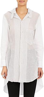 Yohji Yamamoto Women's Striped-Front Cotton Hooded Blouse $980 thestylecure.com