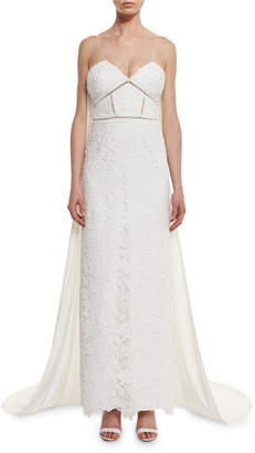 Self-Portrait Self Portrait Angelica Guipure Lace Cape-Back Bridal Gown, White