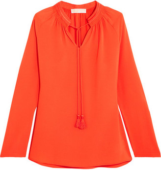 MICHAEL Michael Kors - Embroidered Hammered-crepe Blouse - Bright orange $100 thestylecure.com