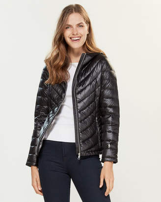 Calvin Klein Packable Hooded Chevron Down Jacket