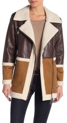 Romeo & Juliet Couture Colorblock Faux Leather & Faux Shearling Coat